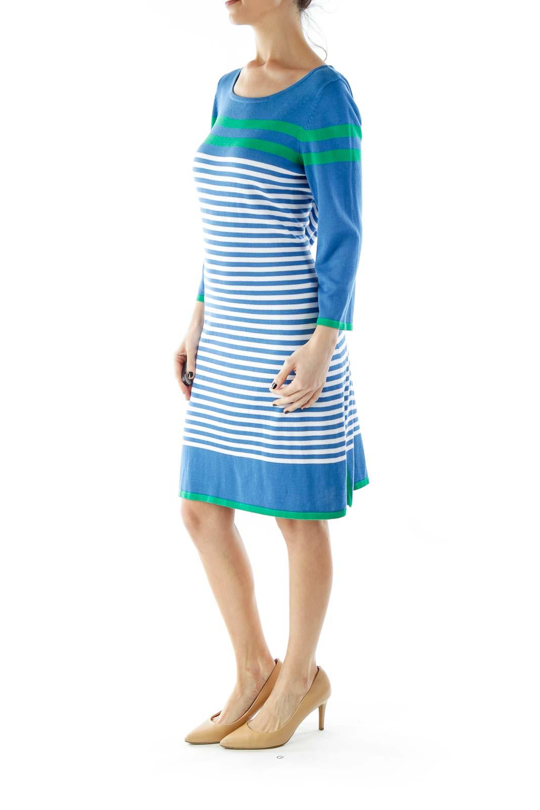 Blue Green Striped Knit Dress