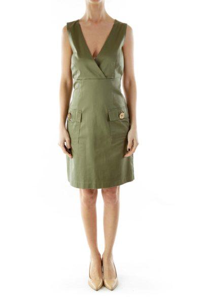 Green V-neck Buttoned Dress