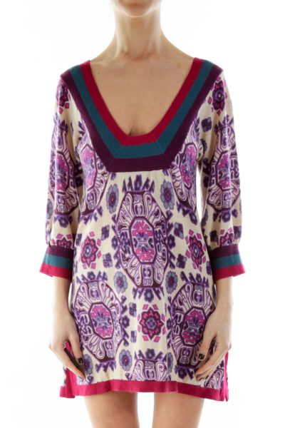 Beige Purple Printed Knit Top
