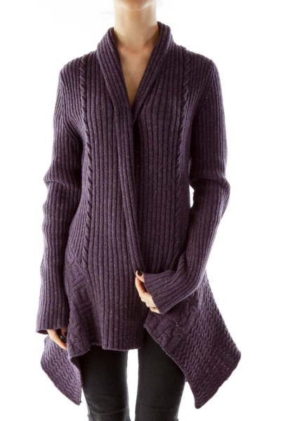 Purple Open Cable Knit Wool Cardigan