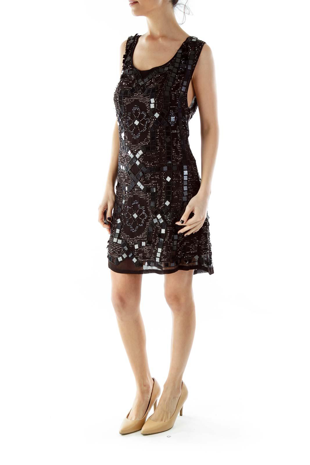 Black Sequined Open-Back Mini Cocktail Dress