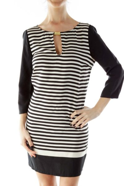 Black White Stripped Cut-Out Loose Mid-Sleeve Day Dress