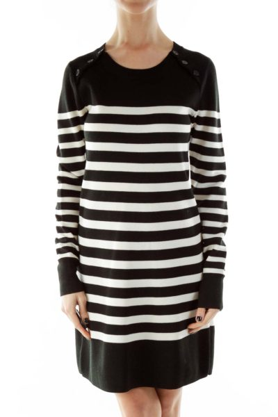 Black White Striped Buttoned Round Neck Knit Dress
