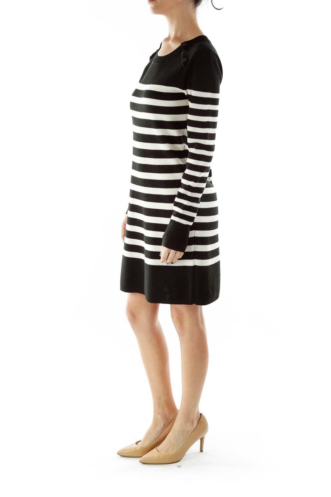 Black White Striped Buttoned Round Neck Knit Dress