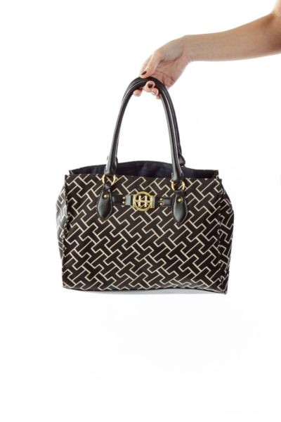 Brown Beige Gold Geometric Print Pleather Shoulder Bag
