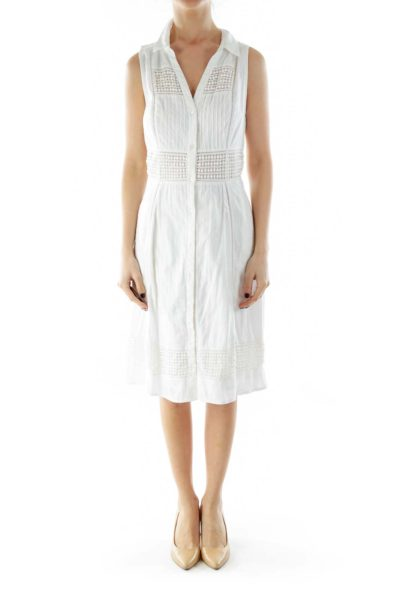 White Buttoned Crocheted Day Dress