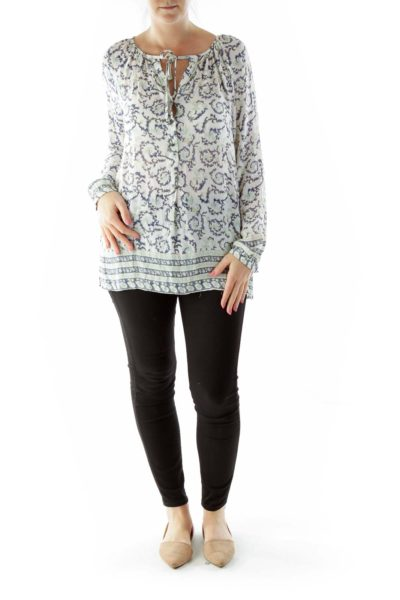 Cream Blue Green Floral Buttoned Blouse