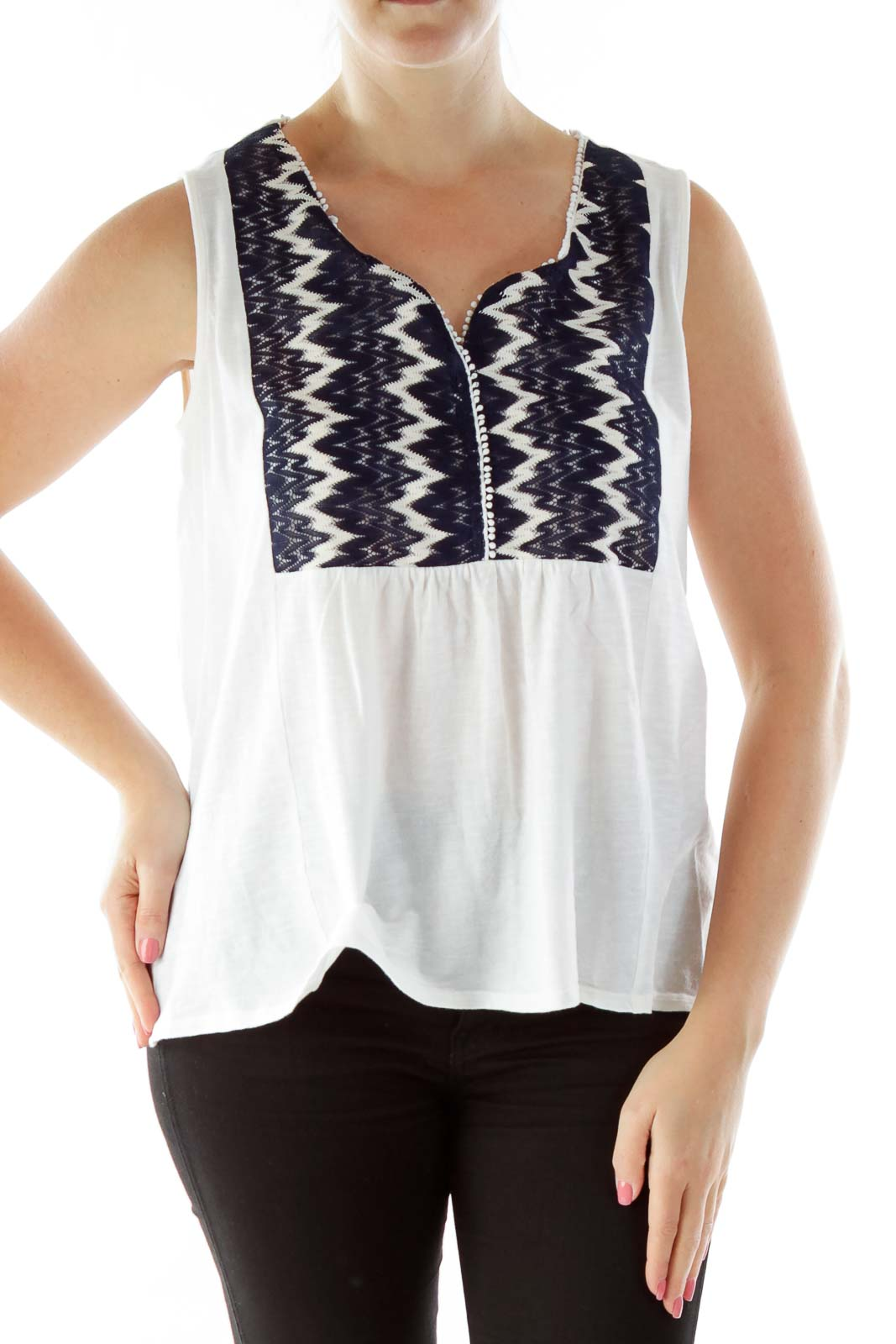 Cream Black Embroidered Loose Tank Top