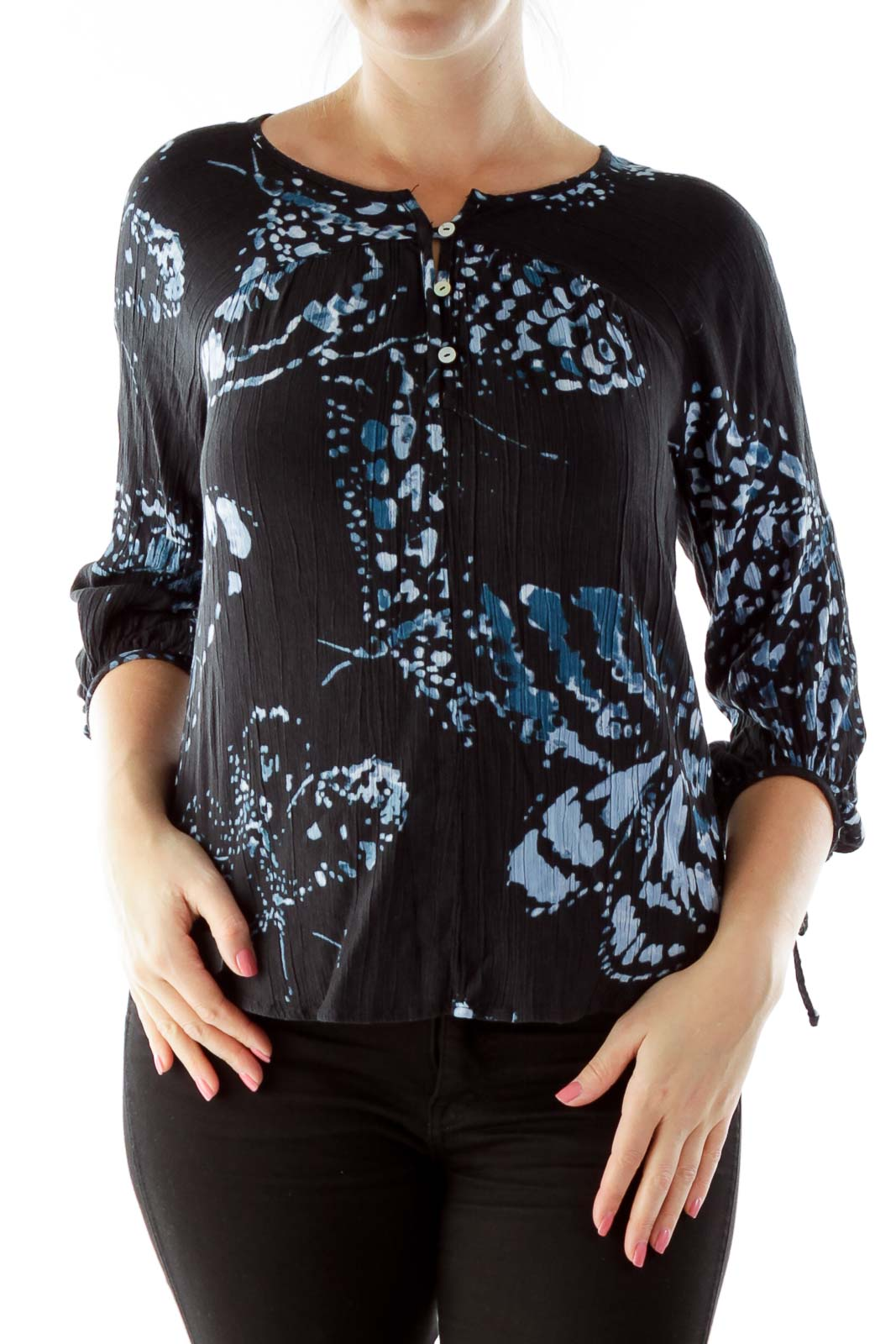 Black Blue Buttoned Print Round Neck Blouse