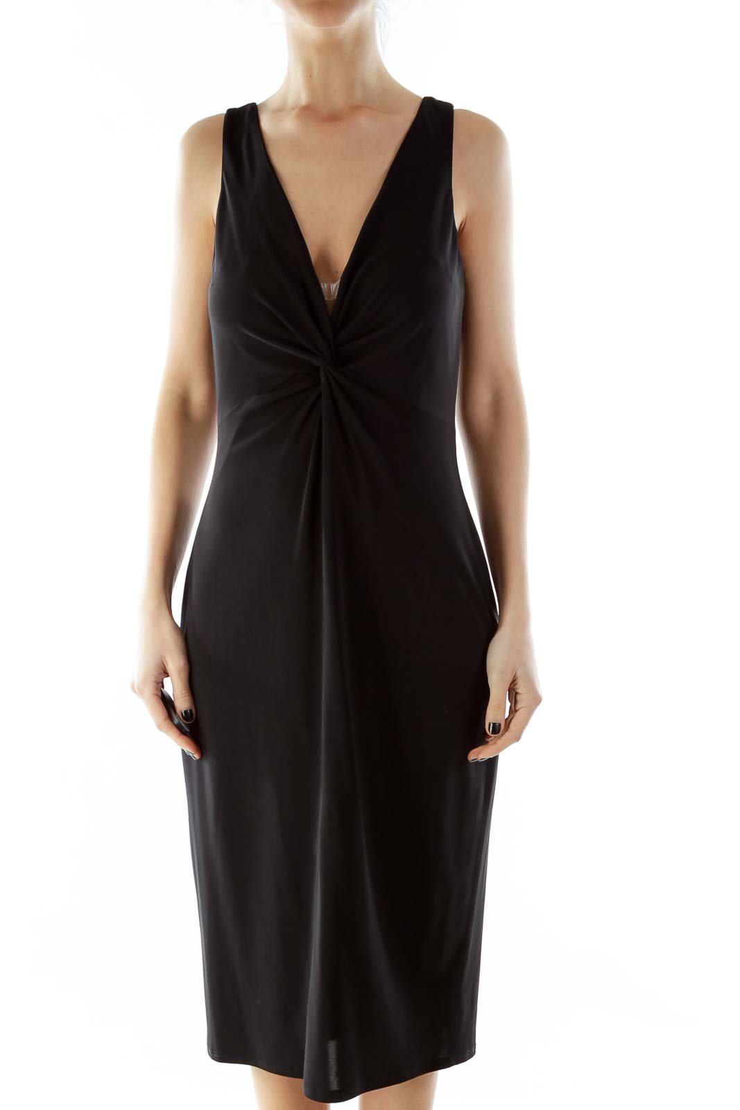 Black V-Neck Cocktail Dress With Knot