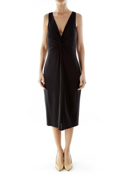 Black V-Neck Cocktail Dress With Knot