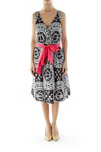 Black White Pink V-Neck Print Dress with Sash