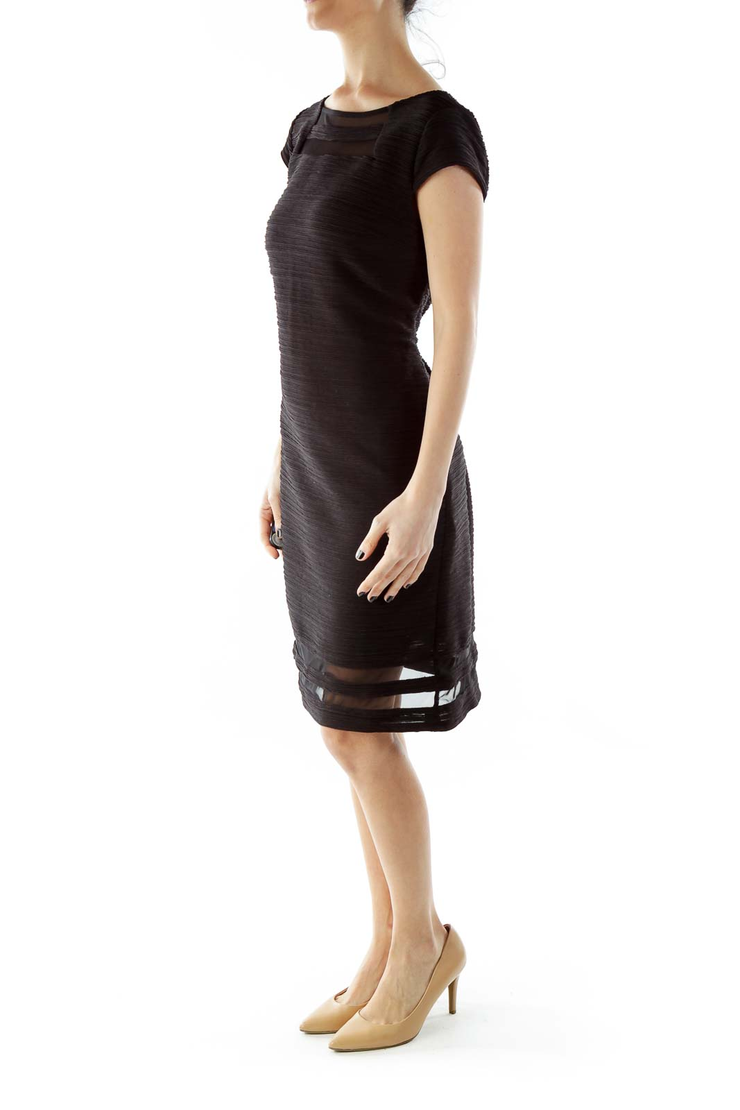 Black Fitted Textured Cocktail Dress
