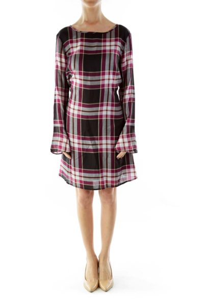Black Purple White Tartan Loose Day Dress