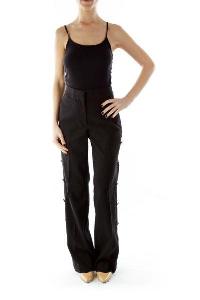 Black Wide-Leg Pants With Button Designs