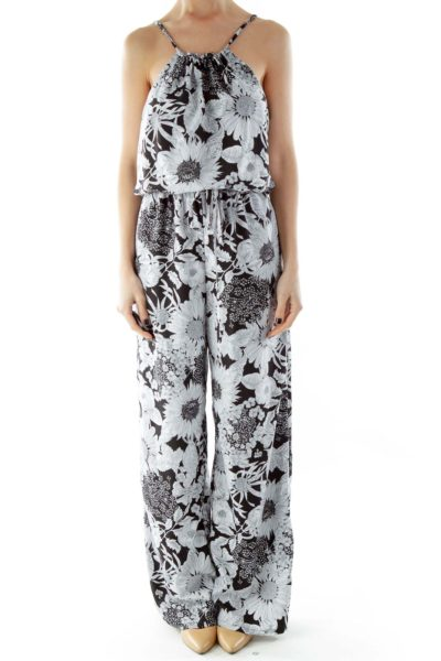 Black White Flower Print Spaghetti Strap Jumpsuit