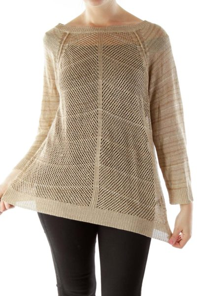 Brown See-Through Knit Top