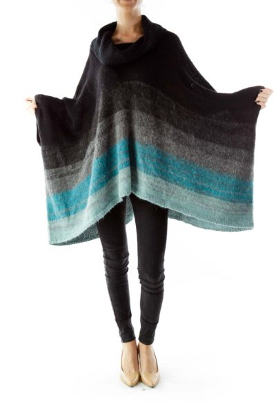 Black Gray Blue Ombre Belted Poncho
