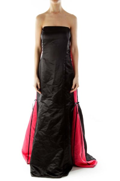 Black Pink Strapless Evening Gown