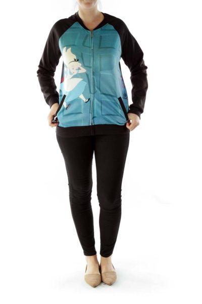 Black Blue Print Bomber Jacket
