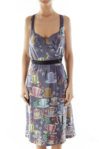 Purple Multicolor Print Belted Empire Dress