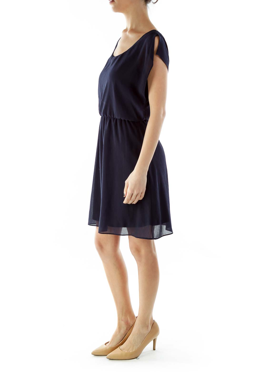 Navy Textured Day Dress