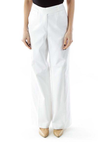 White Wide-Leg Pants