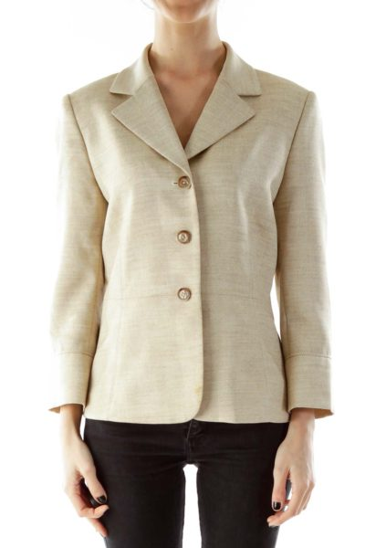 Beige Single-Breasted Blazer