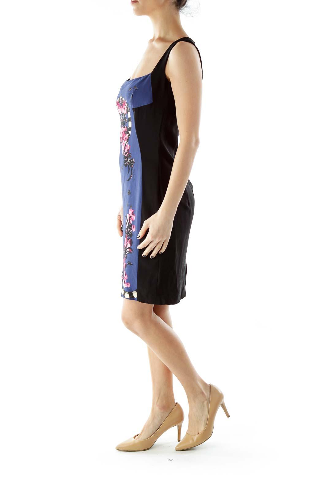Black Blue Pink Flower Square Neck Cocktail Dress