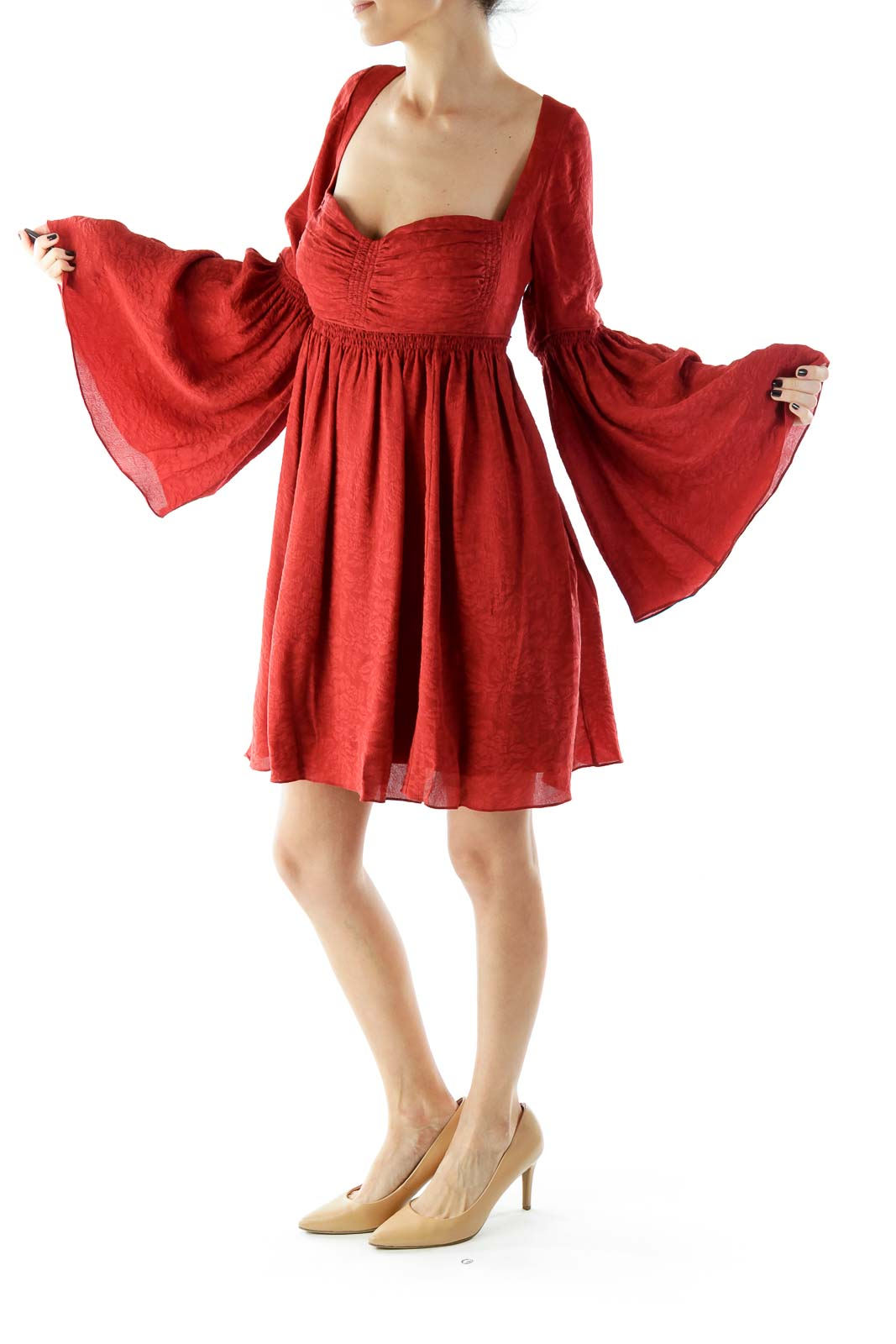 Red Flower Flared Square-Neck Silk Dress