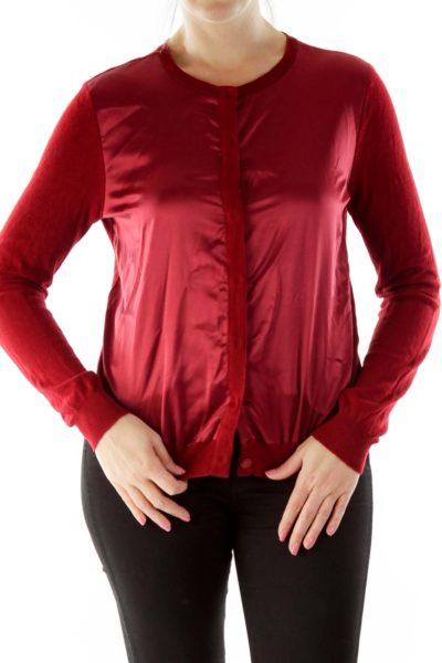 Red Faux-Silk Cardigan