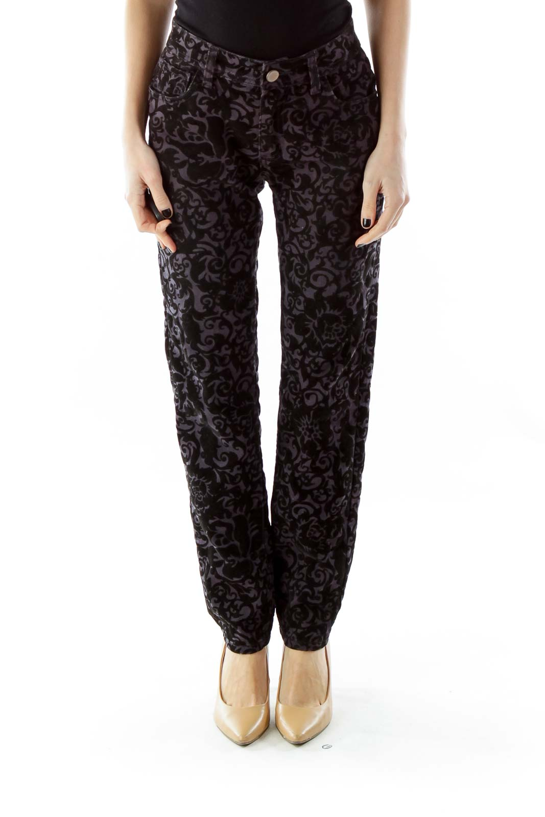 Black Purple Velvet Floral Skinny Pants