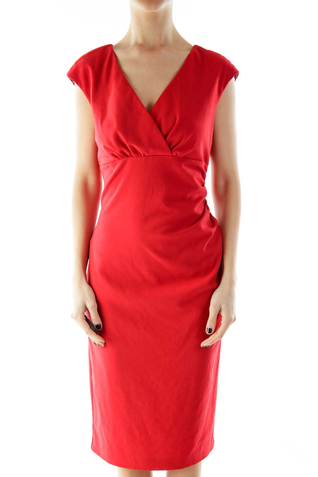 Red V-Neck Cheetah Scrunched Cocktail Dress