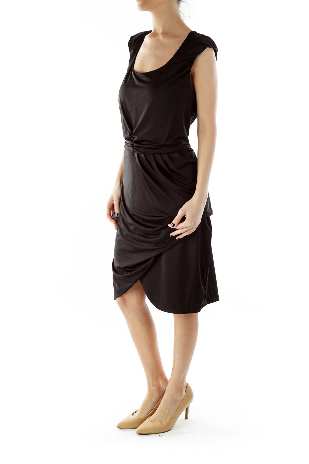 Black Wrap Layered Cocktail Dress