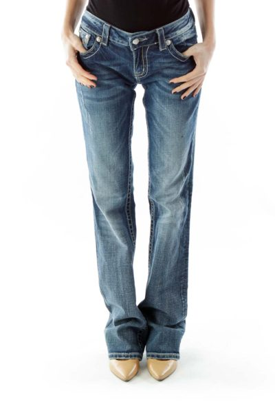 Blue Beaded Straight-Leg Jeans