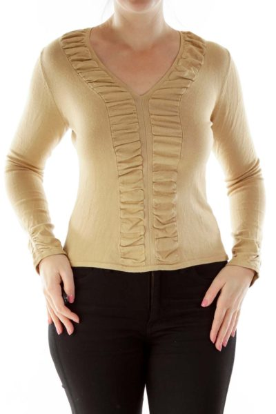 Beige Ruffled V-Neck Jersey-Knit Top