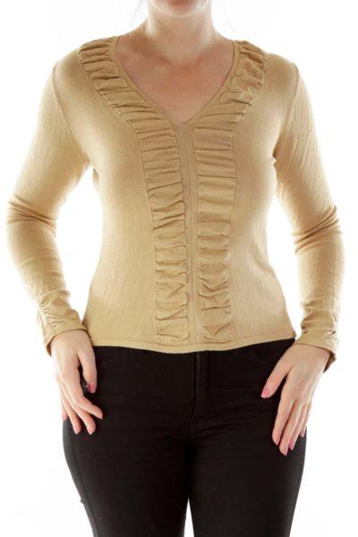 Beige Ruffled V-Neck Jersey-Knit Top