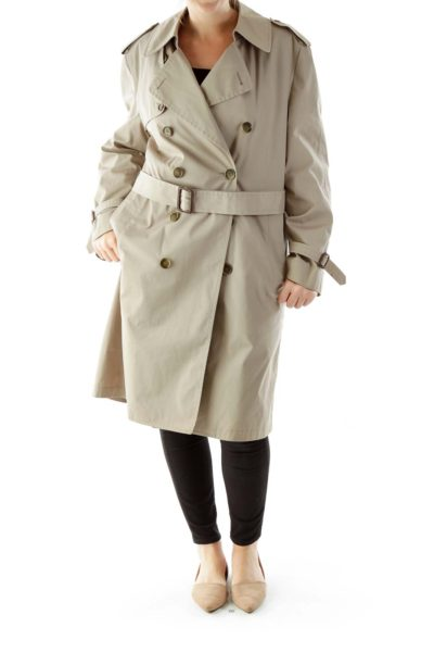Beige Single-Breasted Layered Trench Coat