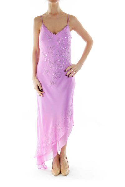 Purple Beaded V-Neck Spaghetti Strap Evening Gown