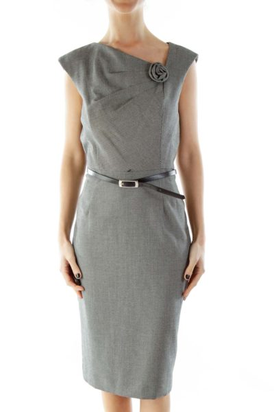 Black White Dotted Belted Work Dress