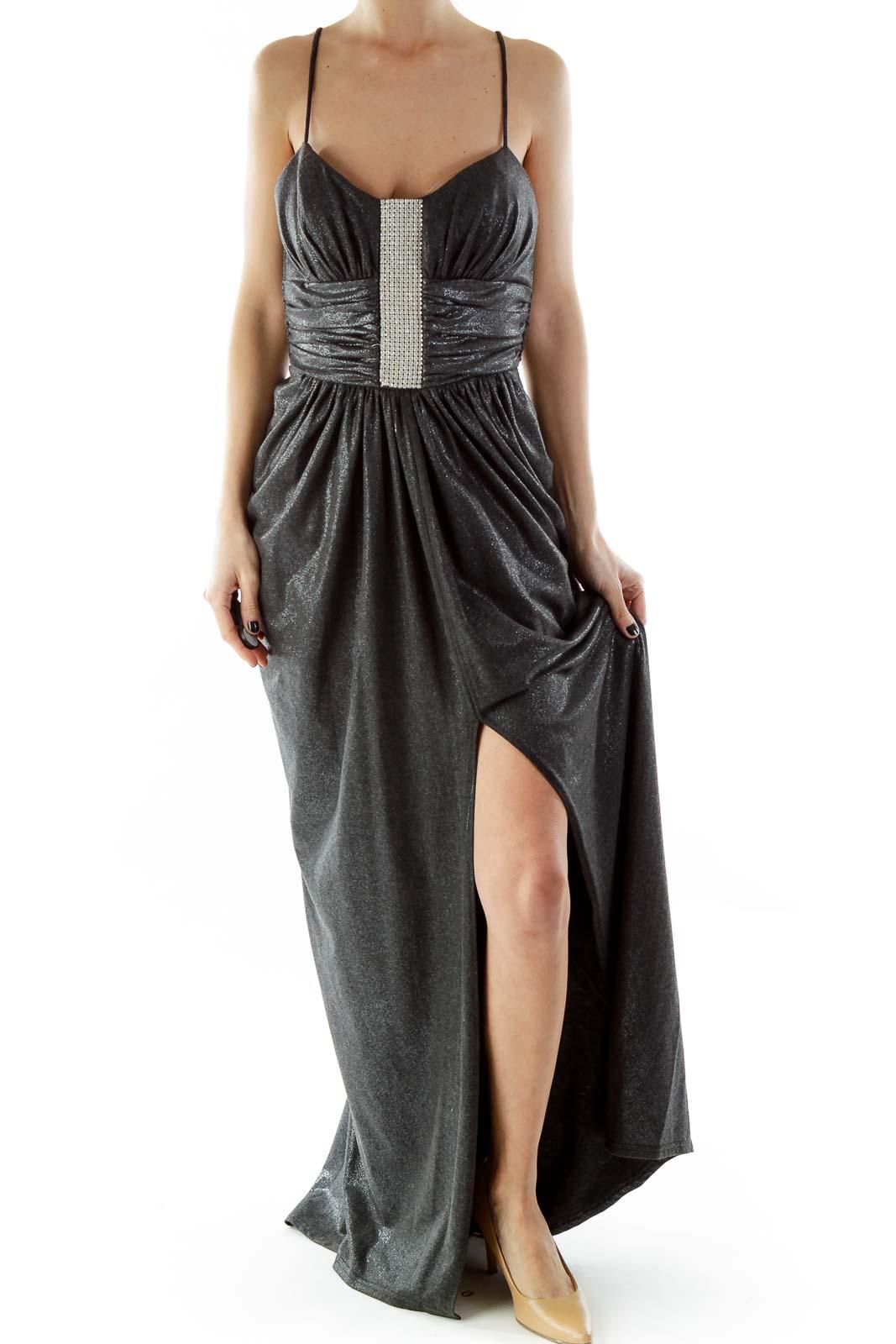 Gray Spaghetti Strap Metallic Evening Dress with Rhinestones