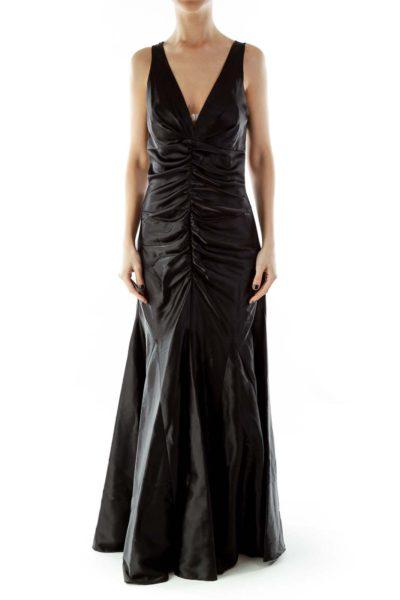 Black V-Neck Scrunched Lace Evening Dress