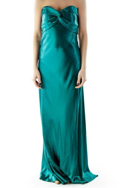 Emerald Strapless Shimmer Evening Dress