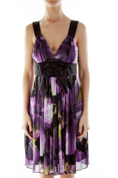 Black Purple V-Neck Floral Bow Cocktail Dress