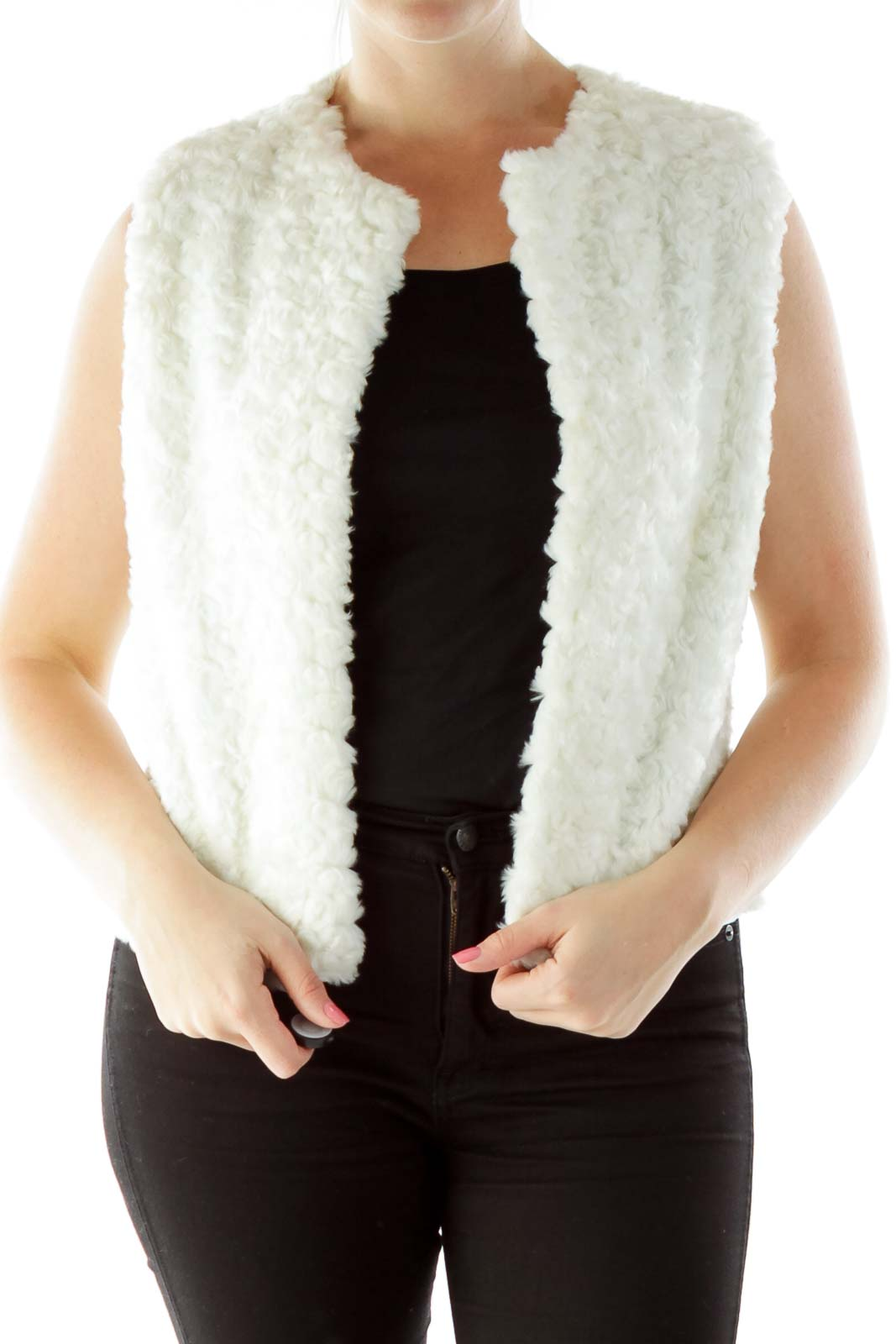 White Faux-Fur Open Vest