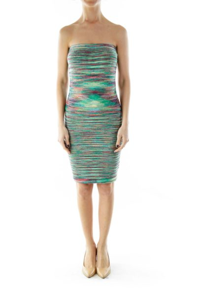Multicolor Strapless Elastic Knit Dress