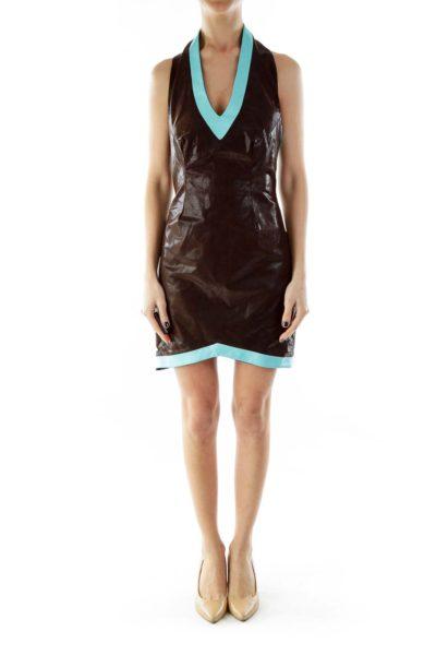 Brown Blue V-Neck Textured Halter Dress