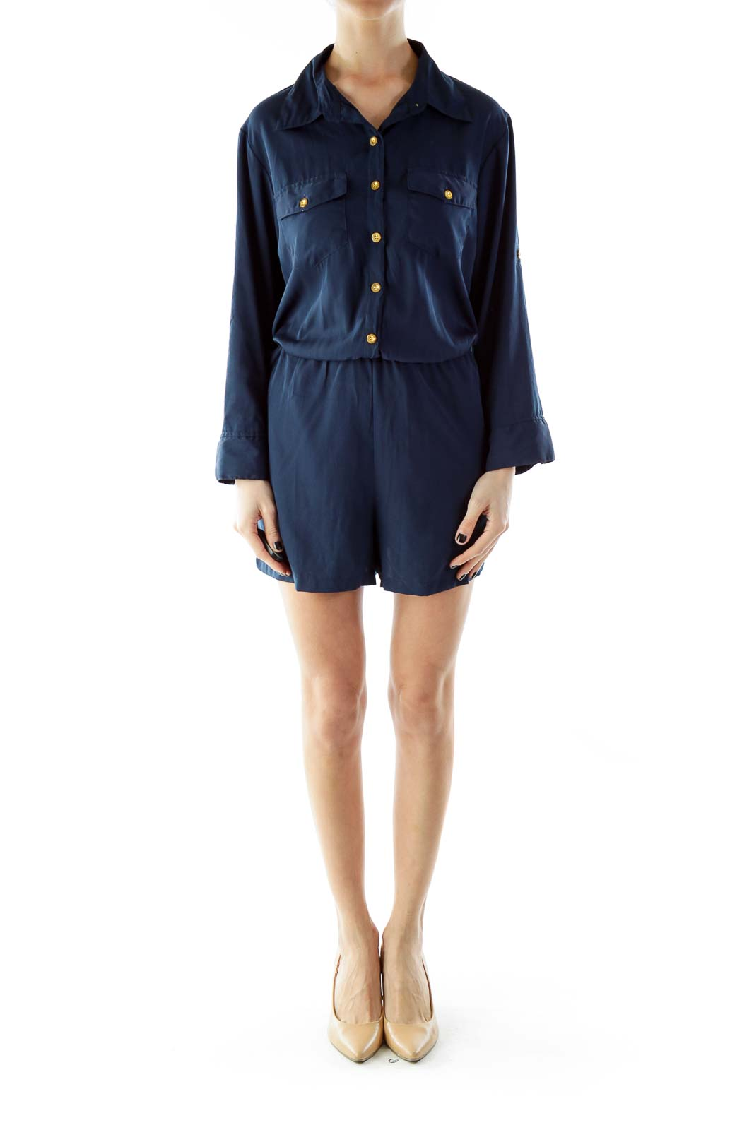 Navy Pocketed Romper