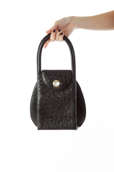 Black Faux-Fur Beaded Handbag