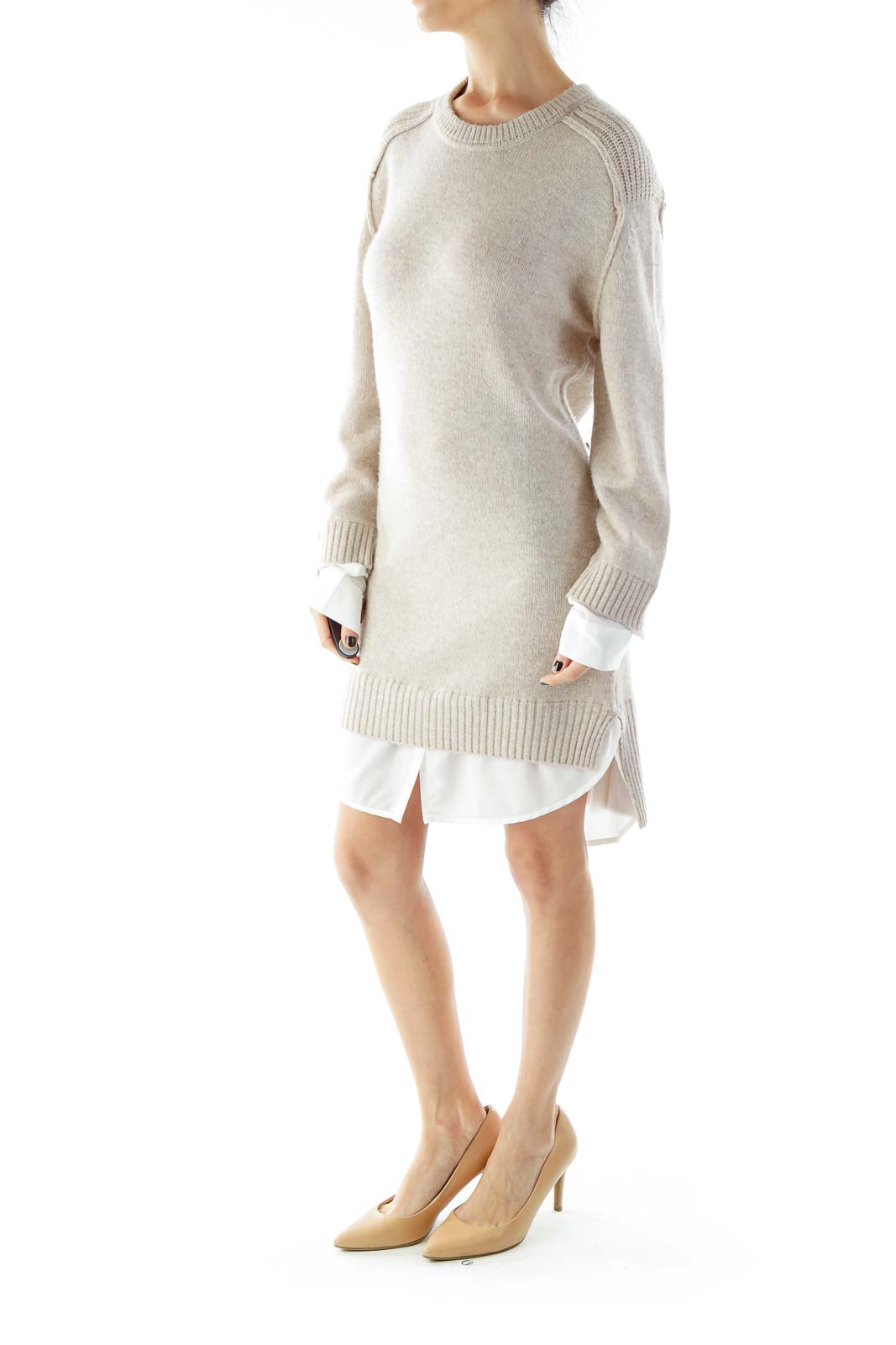 Beige White Layered Knit Dress